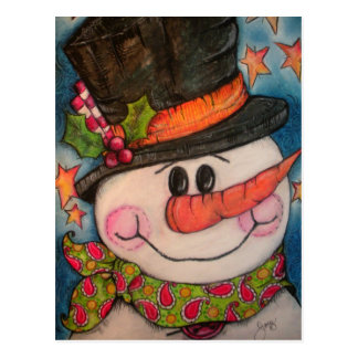 Let It Snow - Frosty Snowman Postcard