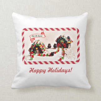 Let it Snow Gingerbread Family Holiday Pillow