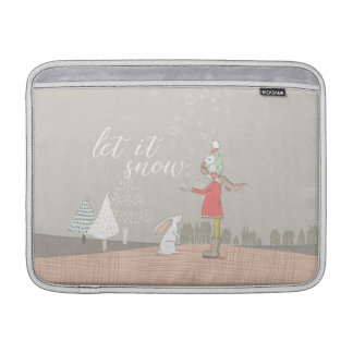 Let it Snow Girl and Bunny MacBook Sleeve