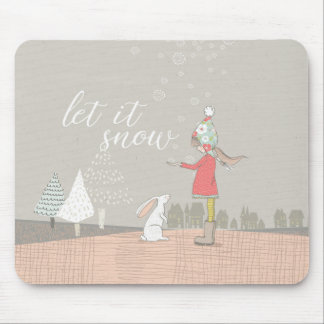 Let it Snow Girl and Bunny Mouse Pad