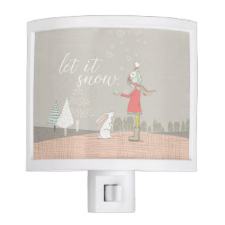 Let it Snow Girl and Bunny Night Light
