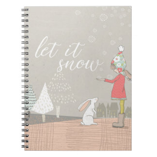Let it Snow Girl and Bunny Notebook