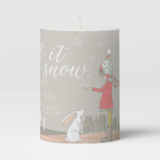 Let it Snow Girl and Bunny Pillar Candle