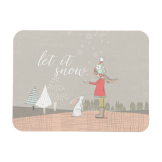 Let it Snow Girl and Bunny Rectangular Photo Magnet