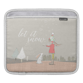 Let it Snow Girl and Bunny Sleeve For iPads