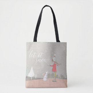 Let it Snow Girl and Bunny Tote Bag