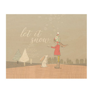 Let it Snow Girl and Bunny Wood Print
