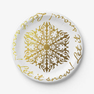Let It Snow Gold Tone Snowflake 7 Inch Paper Plate