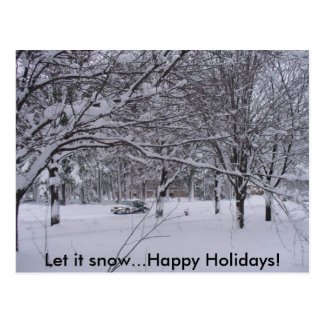 Let it Snow...Happy Holidays postcard