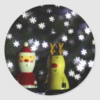 Let it Snow! Happy Holidays with Santa & reindeer Classic Round Sticker