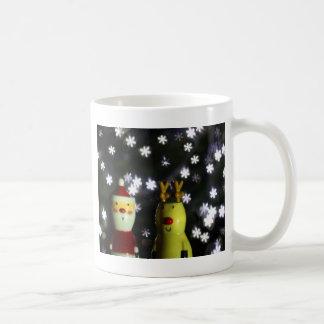 Let it Snow! Happy Holidays with Santa & reindeer Coffee Mug