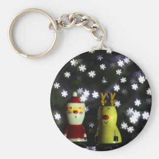 Let it Snow! Happy Holidays with Santa & reindeer Keychain