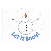 Let It Snow Happy Snowman Postcard