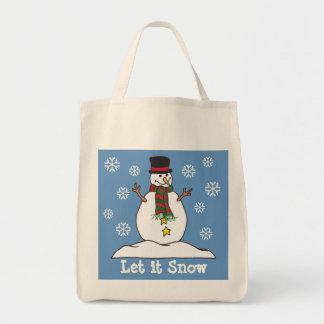 Let it Snow Happy Snowman - Tote Bag