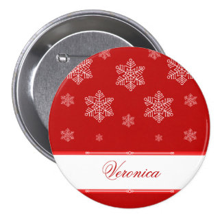 Let it Snow Holiday Button, Red
