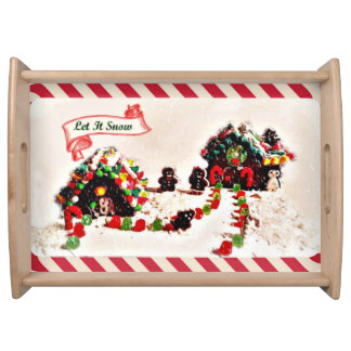 Let It Snow Holiday Gingerbread Family Serving Tray