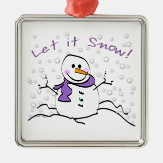 Let It Snow Holiday Metal Ornament