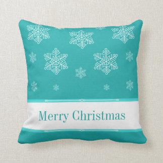 Let it Snow Holiday Pillow, Aqua Throw Pillow