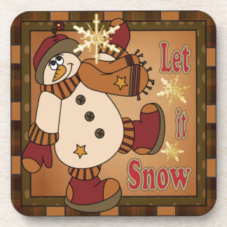 Let it Snow Holiday Snowman | Christmas Beverage Coaster