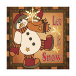 Let it Snow Holiday Snowman  | Christmas Canvas Print