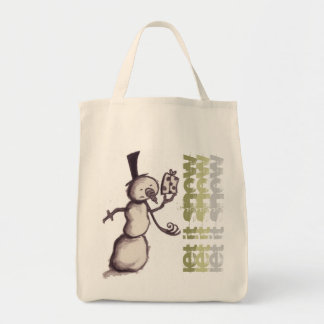 """""""Let it Snow"""" holiday snowman tote"""