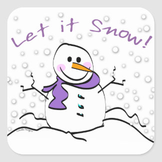 Let It Snow Holiday Square Sticker