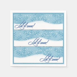 Let It Snow Ice Blue Christmas Napkins at Zazzle