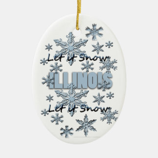 Let it Snow Illinois Christmas Ornament