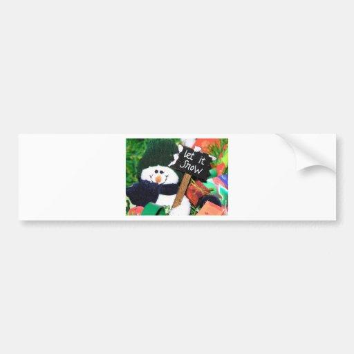 let it snow in cartoon car bumper sticker