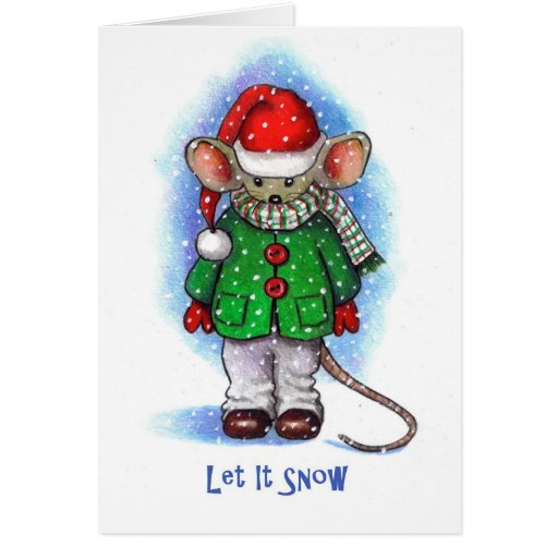 """Let It Snow"" Little Mouse Bundled Up For Winter Card"