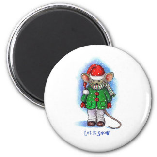 """Let It Snow"" Little Mouse Bundled Up For Winter Magnet"