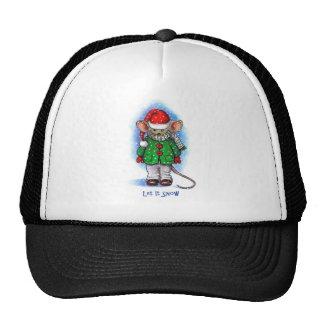 """Let It Snow"" Little Mouse Bundled Up For Winter Trucker Hat"