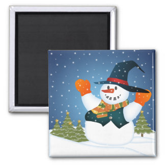 Let It Snow Man! 2 Inch Square Magnet