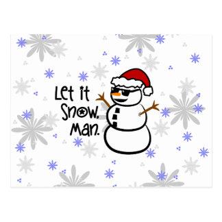 Let it Snow, Man Postcard