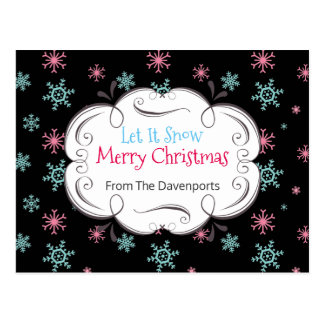 Let it Snow Merry Christmas Snowflakes Custom Postcard