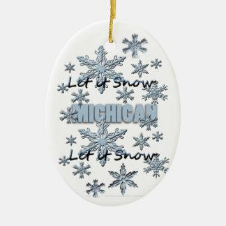 Let it Snow Michigan Christmas Ornament