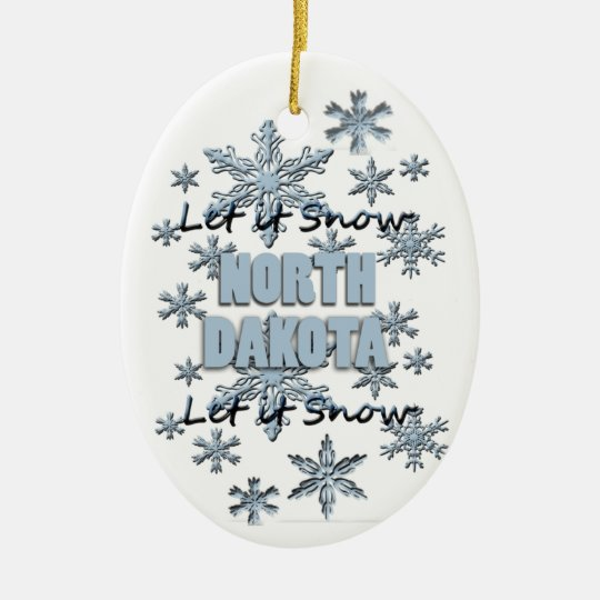 Let it Snow North Dakota Christmas Ornament