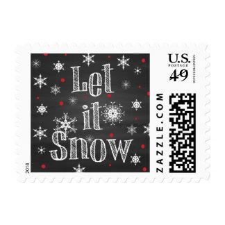Let it Snow on Faux Chalkboard Postage
