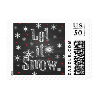 Let it Snow on Faux Chalkboard Postage