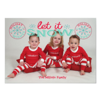 Let It Snow One Picture Photo Christmas Card