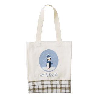Let It Snow! (Penguin) Zazzle HEART Tote Bag