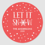 Let It Snow Personalized Christmas Stickers