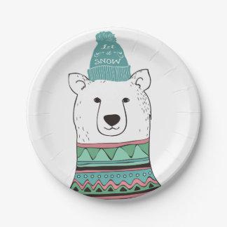 Let It Snow Polar Bear 7 Inch Paper Plate