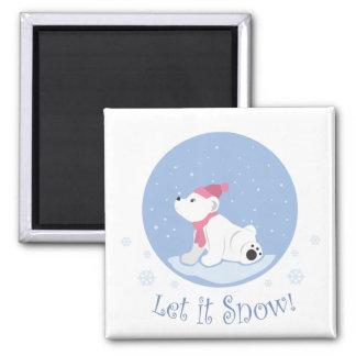 Let It Snow! (Polar Bear Cub) 2 Inch Square Magnet
