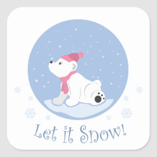 Let It Snow! (Polar Bear Cub) Square Sticker