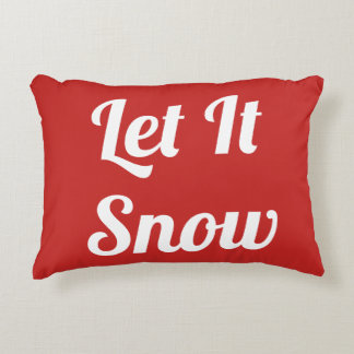 Let It Snow Red and White Snowflake Pillow