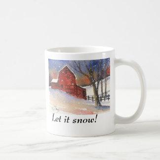 Let it Snow!  Red Barn Coffee Mug