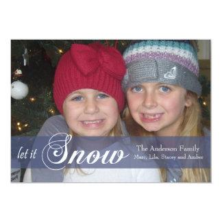 Let It Snow Ribbon Photo Card -blue