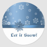 Let it snow! Royal Blue and White Snowflakes Classic Round Sticker