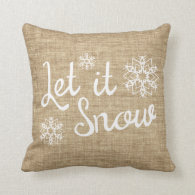 Let it Snow Rustic Winter Burlap Print Throw Pillow